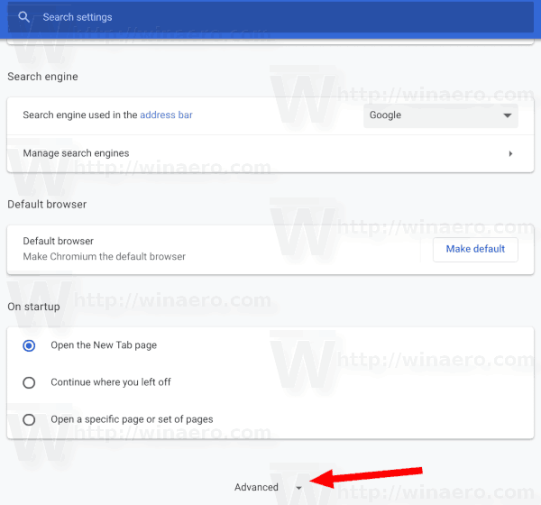 Google Chrome Advanced Settings Link