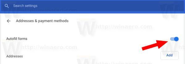 Google Chrome Disable AutoFill