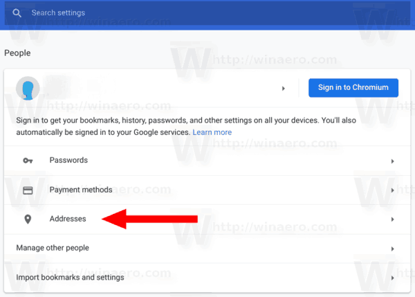 Google Chrome People Addresses Link