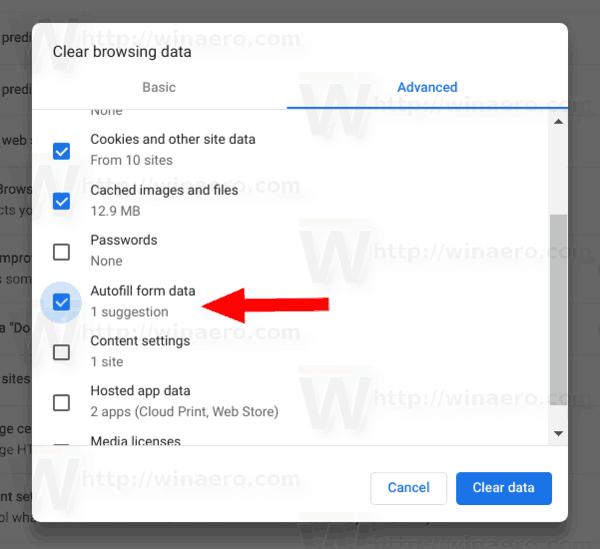 Google Chrome Remove Form Data