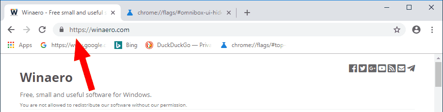 Google Chrome WWW HTTPS Visible