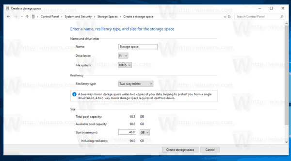 New Pool Options In Storage Spaces In Windows 10