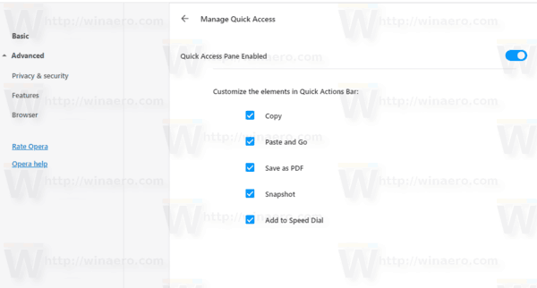 Opera 57 Manage Quick Access Pane