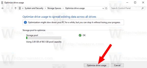 Optimize Drive Usage Dialog Storage Pool