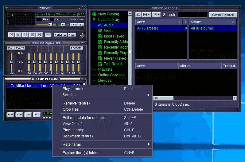 Winamp 5.8 Beta On Windows 10 Classic Skin