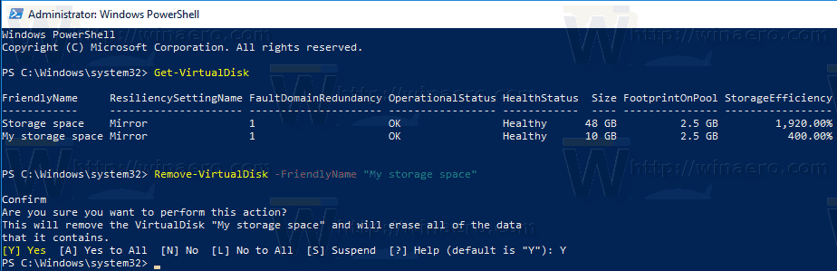 Windows 10 Delete Storage Space With PowerShell