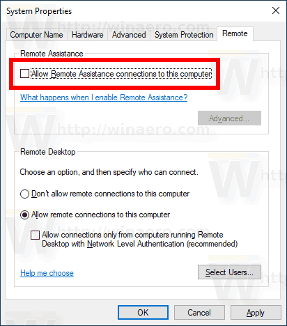 Disable Remote Assistance in Windows 10