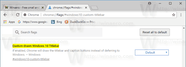 Windows 10 Google Chrome Titlebar Flag