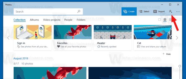 Windows 10 Photos Account Button