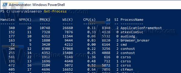 Windows 10 PowerShell Get Process