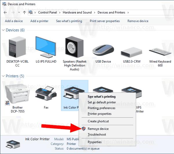 Windows 10 Remove Printer With CP