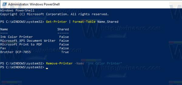 Windows 10 Remove Printer With PowerShell