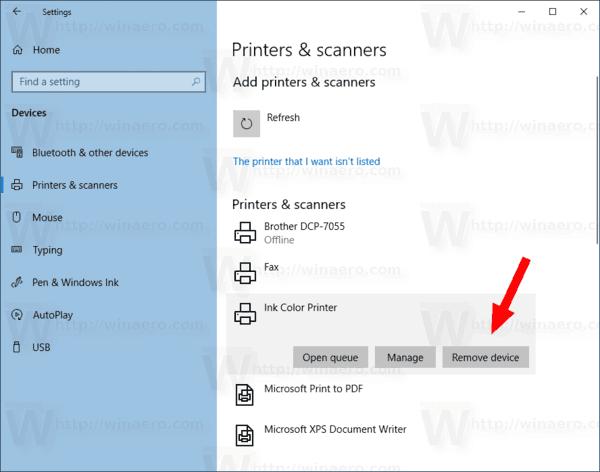 Windows 10 Remove Printer