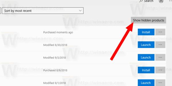Windows 10 Store Show Hidden Apps