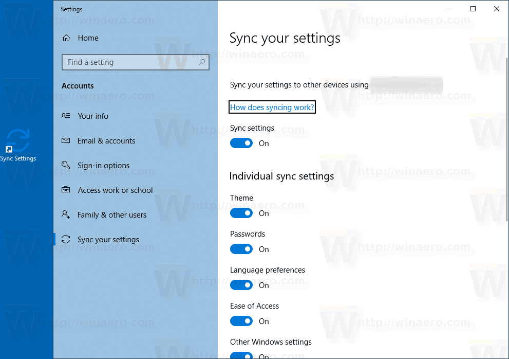 Windows 10 Sync Settings Shortcut In Action