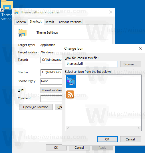 Windows 10 Theme Settings Shortcut Icon