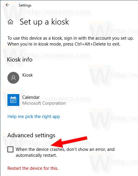 Disable Auto Restart on Crash in Windows 10 Kiosk Mode