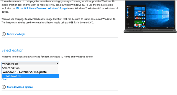 Download Windows 10 Version 1809 ISO Images Directly Without
