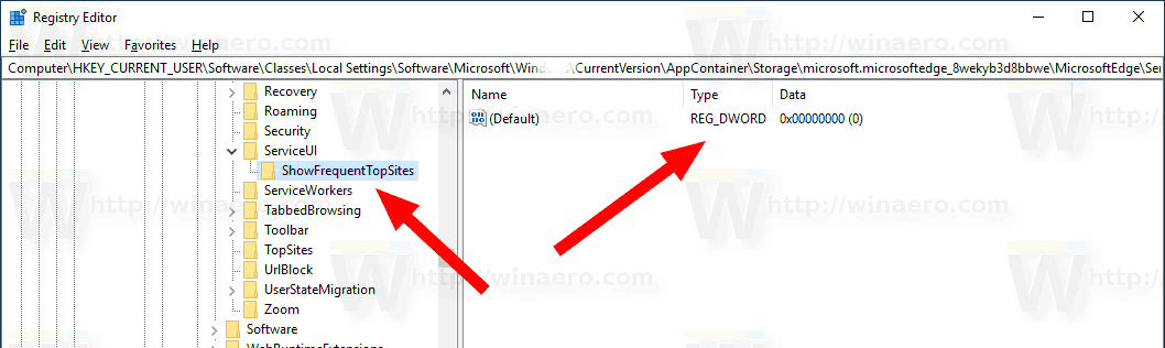 Edge Disable Top Sites Registry