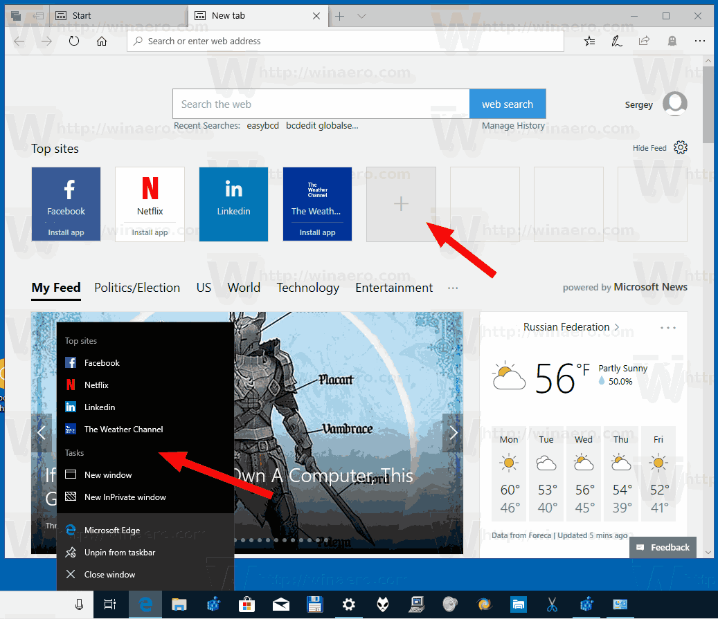 Edge Top Sites Disabled