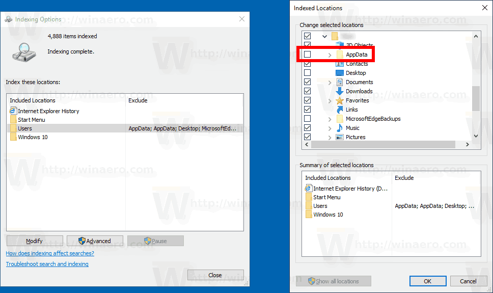 Exclude Folder From Search Index Classic Options