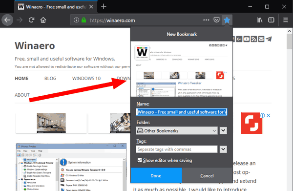 how to add bookmark tab in firefox