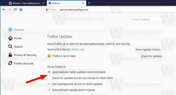 Disable Updates in Firefox 63 and above