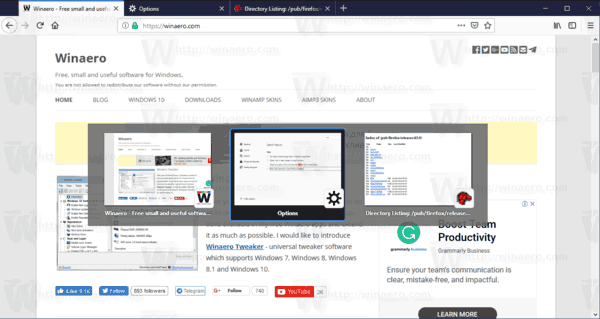 Firefox 63 Visual Tab Switcher