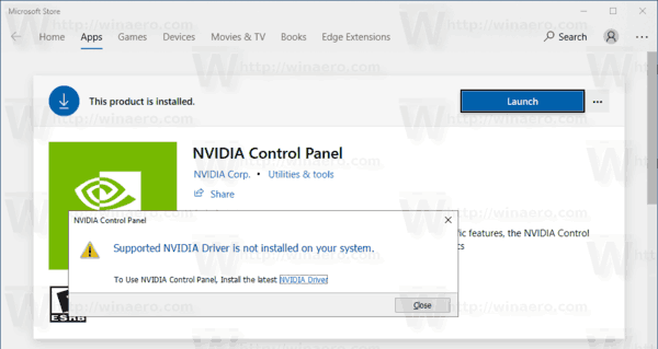 Unblock NVIDIA Control Panel Store App in Windows 10