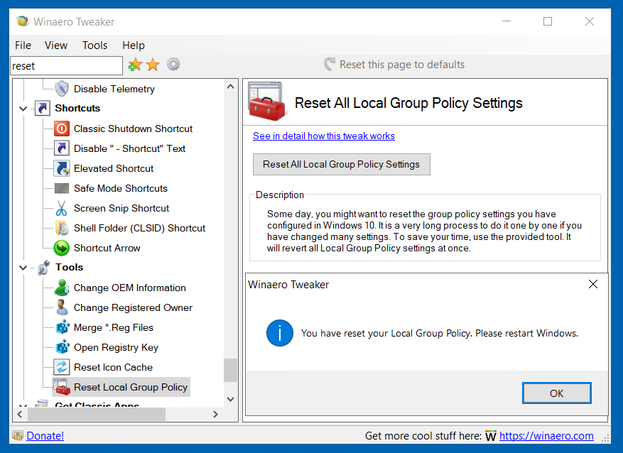 Reset Group Policy Tweaker 12