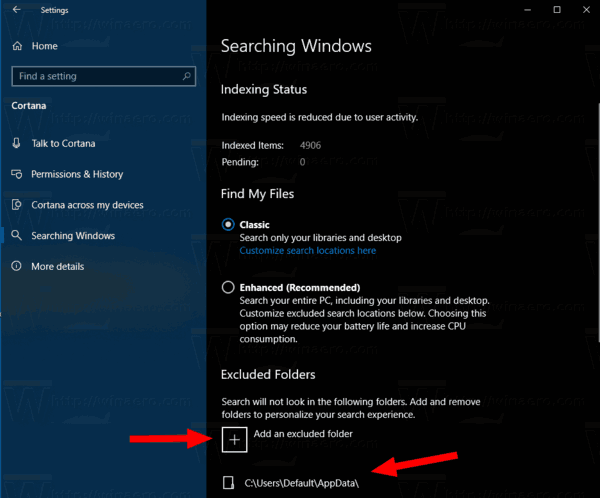 Search Indexer Enhanced Mode Exclude Folders
