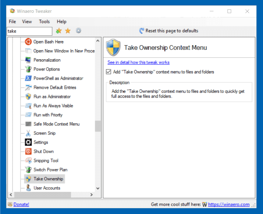 Take Ownership Context Menu