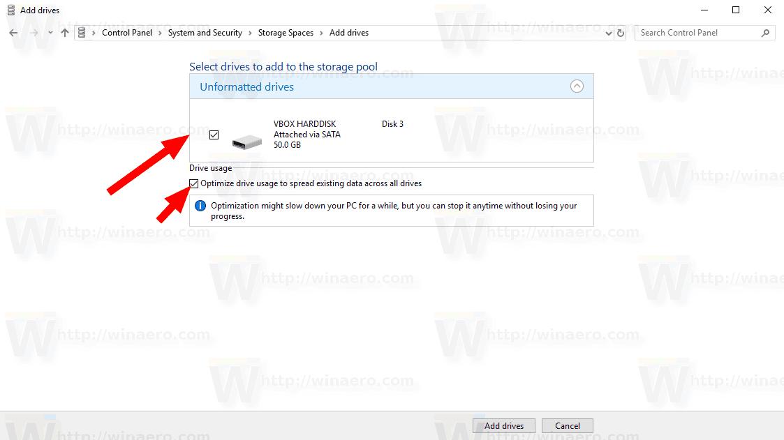 Windows 10 Add Drive To Storage Space Dialog