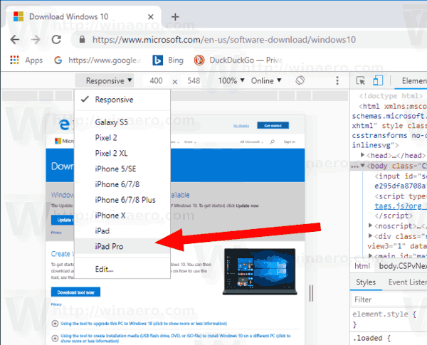Windows 10 Chrome Developer Tools Change Device