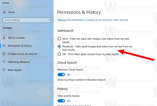 Windows 10 Cortana SafeSearch
