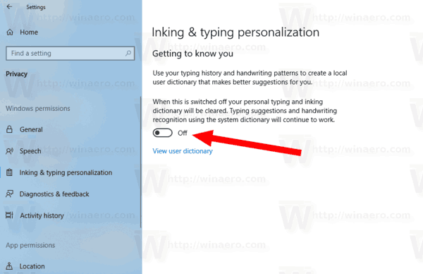 Windows 10 Disable Inking And Typing Personalization