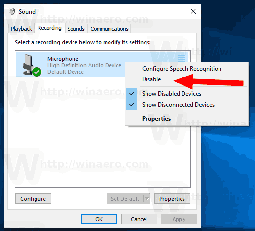 Windows 10 Disable Microphone Sound Dialog