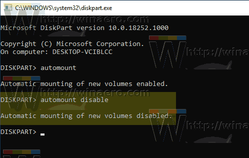 Windows 10 Diskpart Automount Disabled