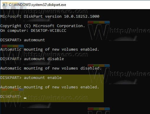 Windows 10 Diskpart Automount RE Enabled