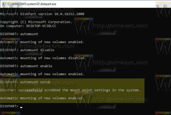 Windows 10 Diskpart Automount Scrub