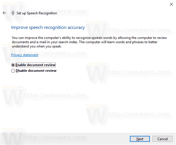 Windows 10 Enable Speech Recognition Step 6
