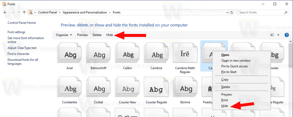 How to a Hide a Font in Windows 10