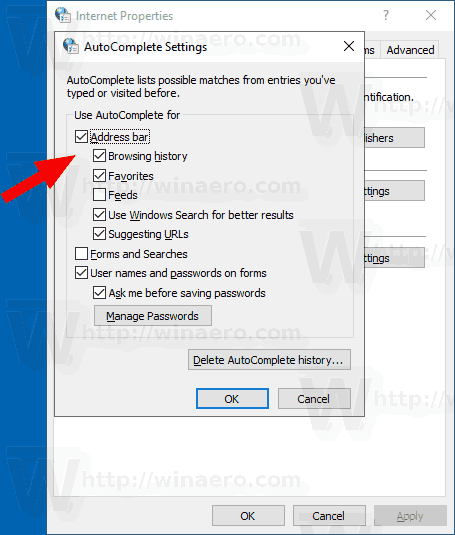 Windows 10 Internet Options AutoSuggest