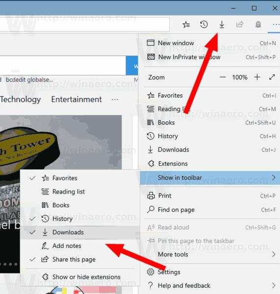 Customize Microsoft Edge Toolbar in Windows 10