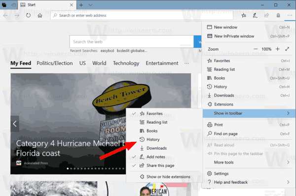 Windows 10 Microsoft Edge Customize Toolbar