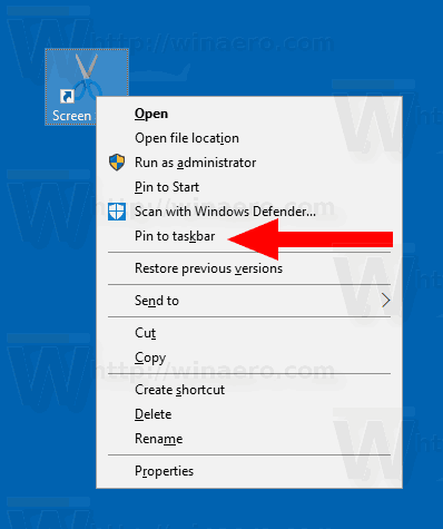 Windows 10 Pin Screen Snip To Taskbar