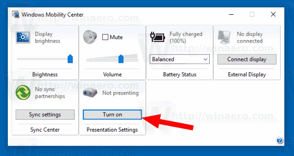 Enable presentation mode vista