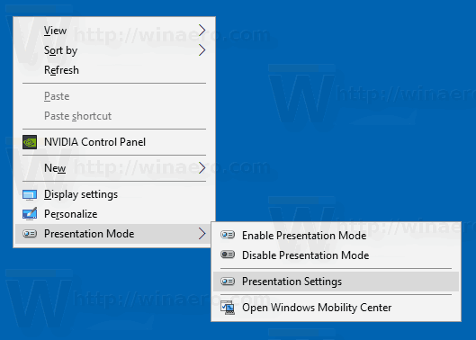 Windows 10 Presentation Mode Context Menu