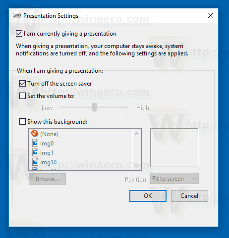Windows 10 Presentation Mode Settings