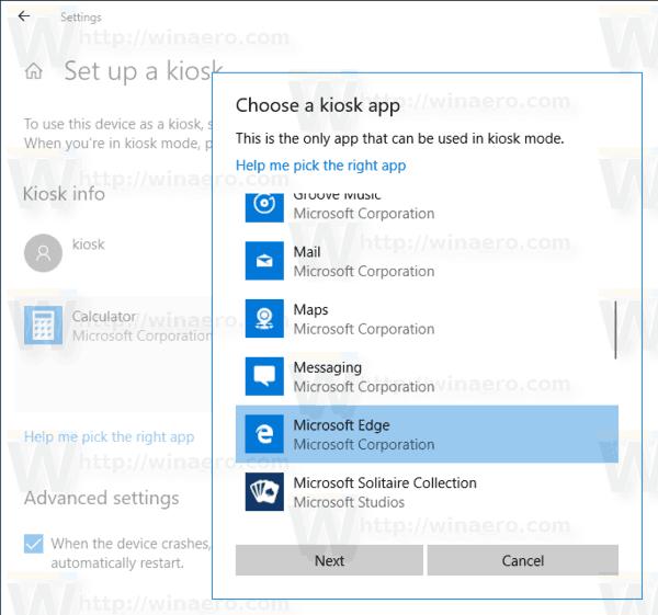 Change Kiosk App in Windows 10